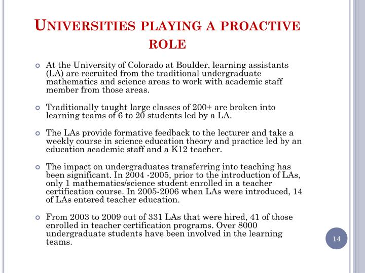 Universities playing a proactive role