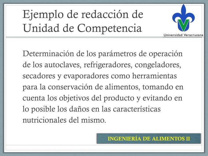 Ejemplo de redacción de Unidad de Competencia