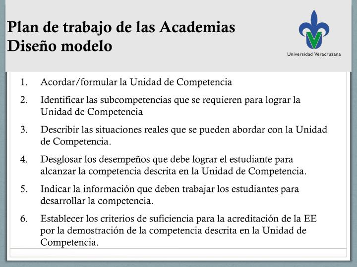 Plan de trabajo de las Academias