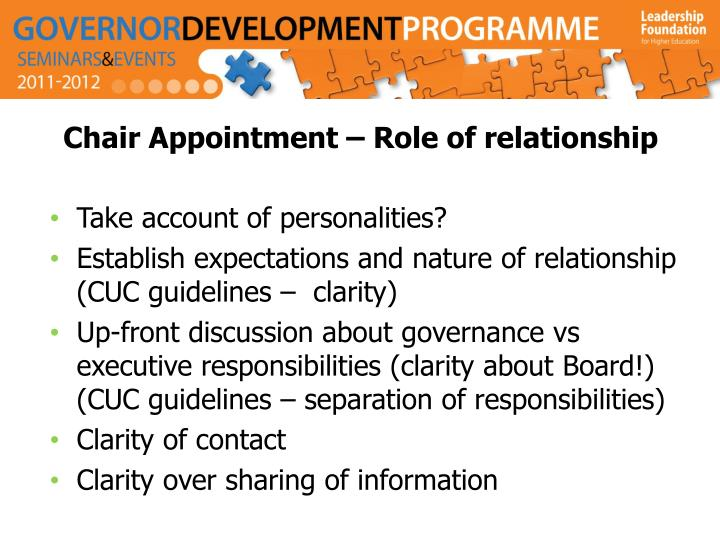 Chair Appointment – Role of relationship