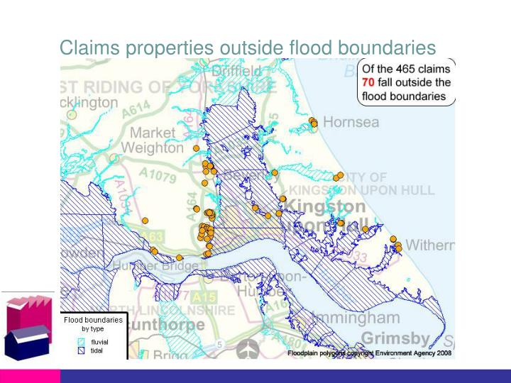 Claims properties outside flood boundaries