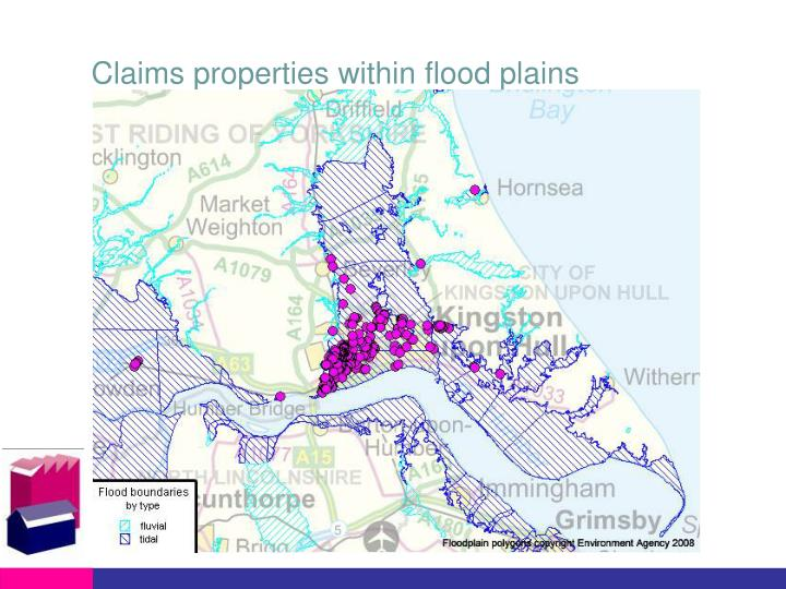 Claims properties within flood plains