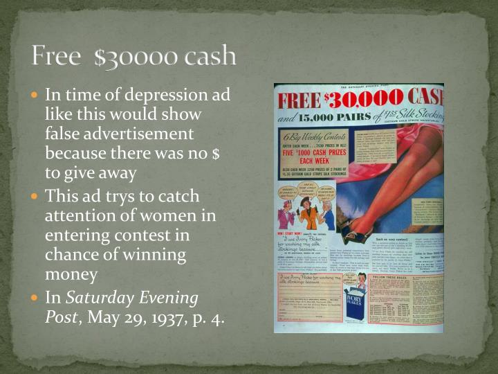 Free  $30000 cash