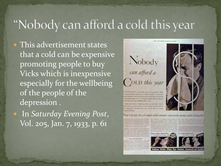 """Nobody can afford a cold this year"