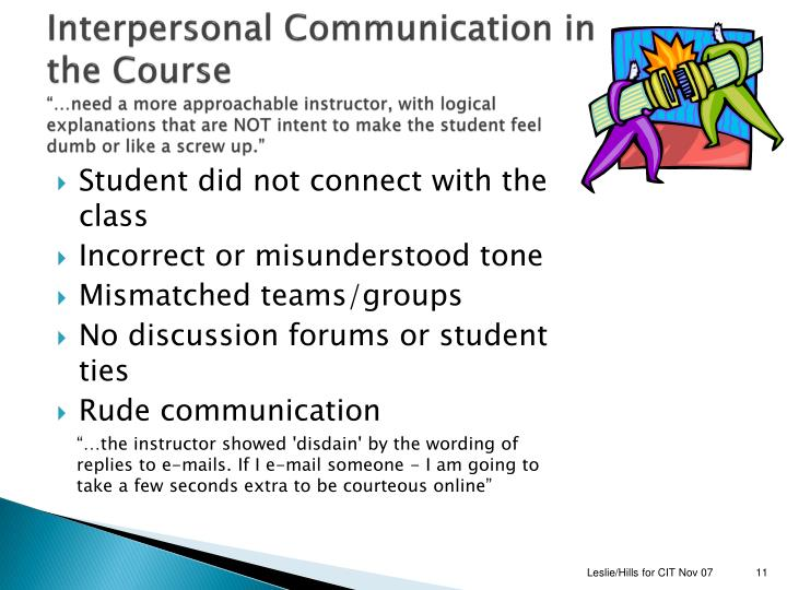 Interpersonal Communication in the Course