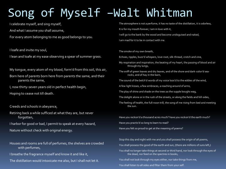 choosing sides in walt whitmans song of Walt whitman, leaves of grass (philadelphia: david mckay, 1891-92): 29-79 ps 3201 1891 robarts library  or along the fields and hill-sides, 29 the feeling of health, the full-noon trill,  329 and of these one and all i weave the song of myself ## 330 i am of old and young, of the foolish as much as the wise.