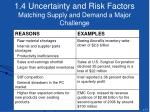 1 4 uncertainty and risk factors matching supply and demand a major challenge