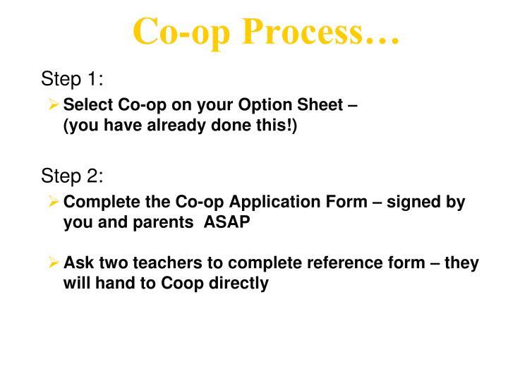 Co-op Process…