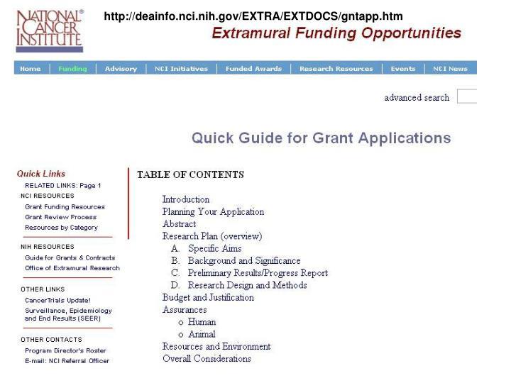 http://deainfo.nci.nih.gov/EXTRA/EXTDOCS/gntapp.htm