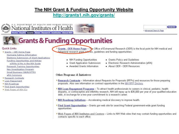 The NIH Grant & Funding Opportunity Website