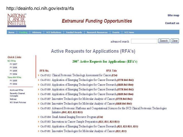 http://deainfo.nci.nih.gov/extra/rfa