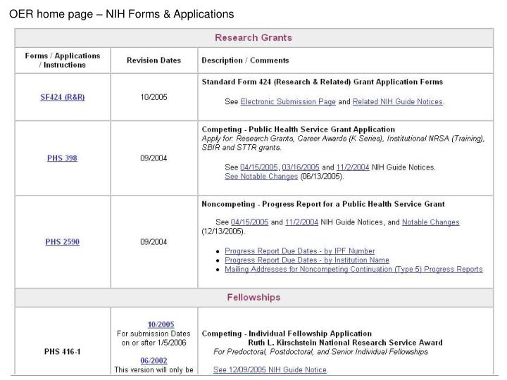 OER home page – NIH Forms & Applications