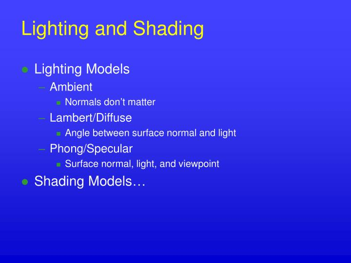 Lighting and Shading