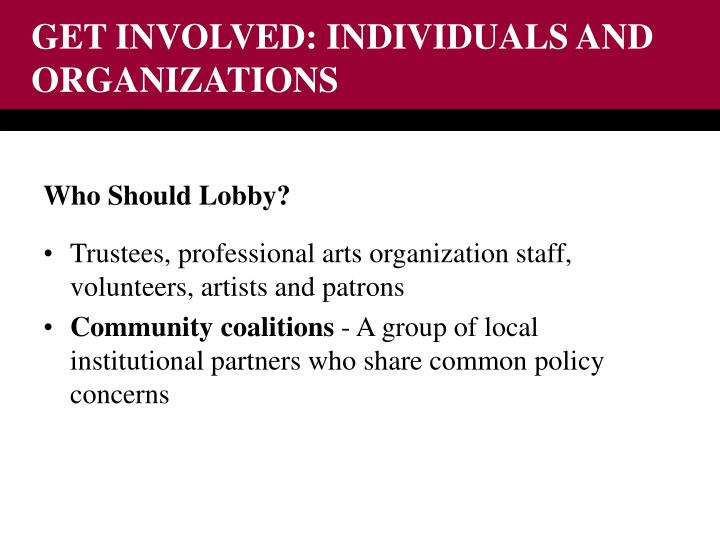 GET INVOLVED: INDIVIDUALS AND ORGANIZATIONS