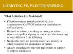 lobbying vs electioneering
