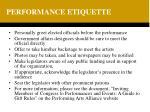 performance etiquette