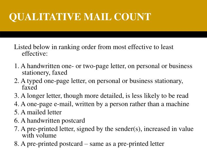QUALITATIVE MAIL COUNT