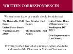 written correspondences