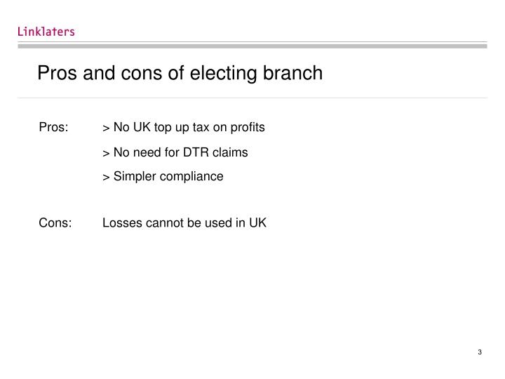 Pros and cons of electing branch