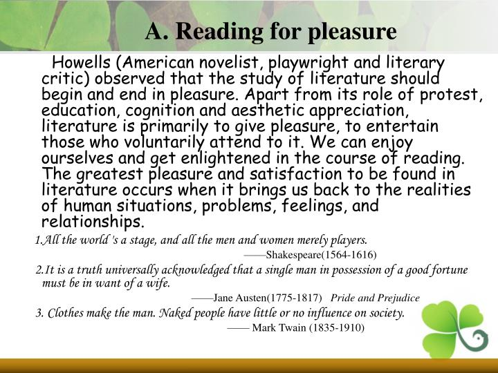A. Reading for pleasure