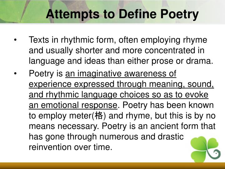 Attempts to Define Poetry