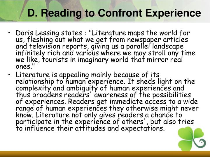 D. Reading to Confront Experience
