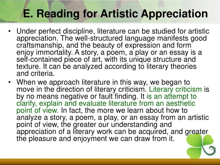 E. Reading for Artistic Appreciation