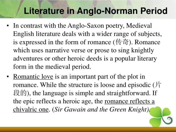 Literature in Anglo-Norman Period