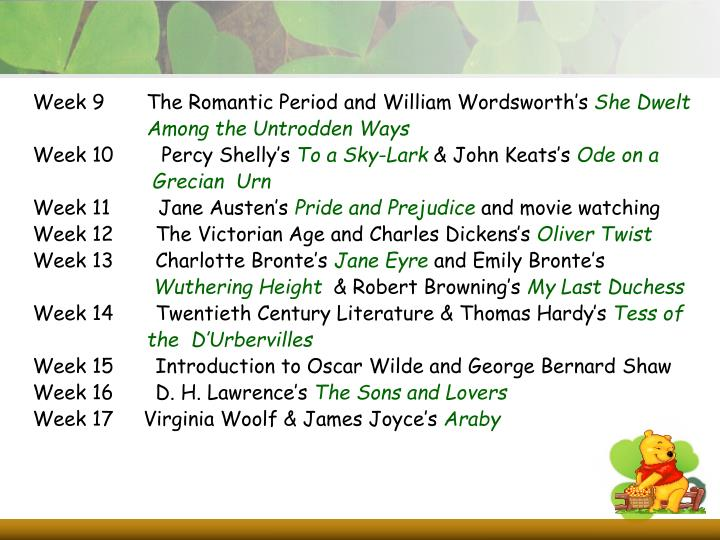 Week 9       The Romantic Period and William Wordsworth's