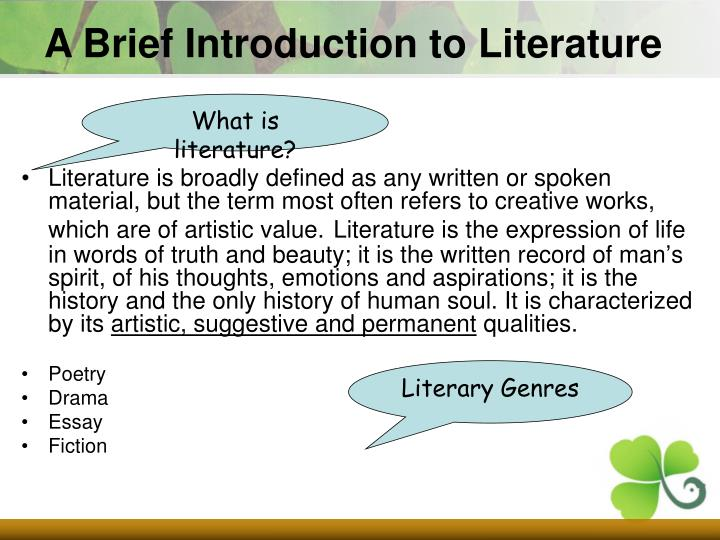 A Brief Introduction to Literature