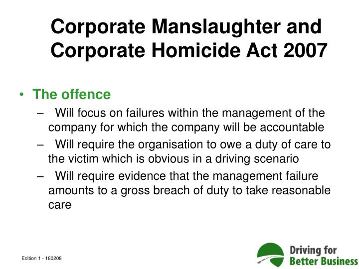 Corporate Manslaughter and