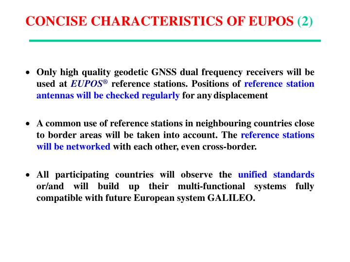 CONCISE CHARACTERISTICS OF EUPOS