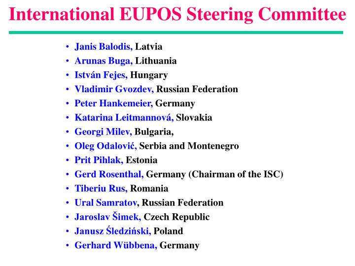 International eupos steering committee