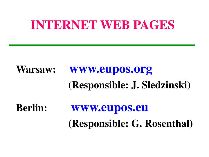 INTERNET WEB PAGES