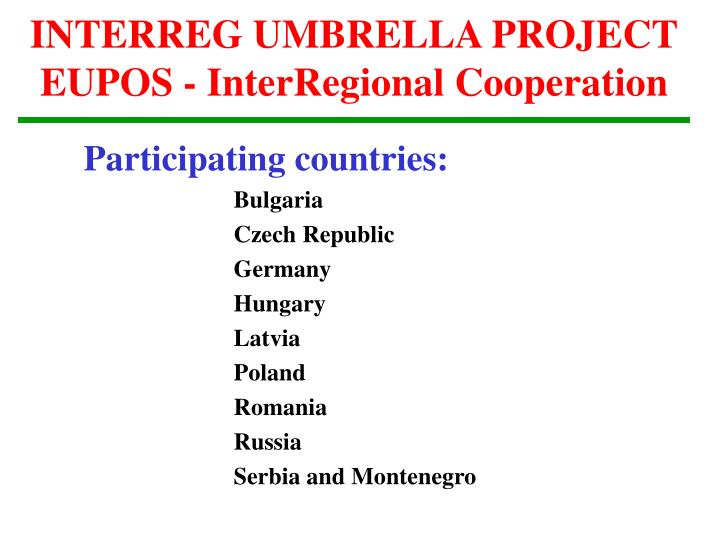 INTERREG UMBRELLA PROJECT