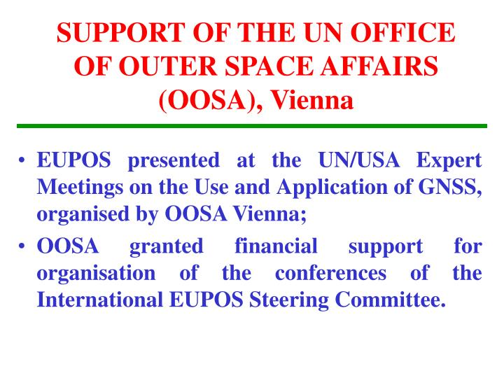 SUPPORT OF THE UN OFFICE