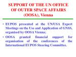 support of the un office of outer space affairs oosa vienna