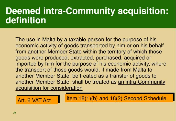 Deemed intra-Community acquisition: definition