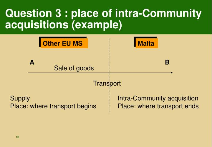 Question 3 : place of intra-Community acquisitions (example)