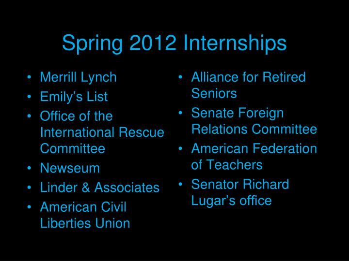 Spring 2012 Internships