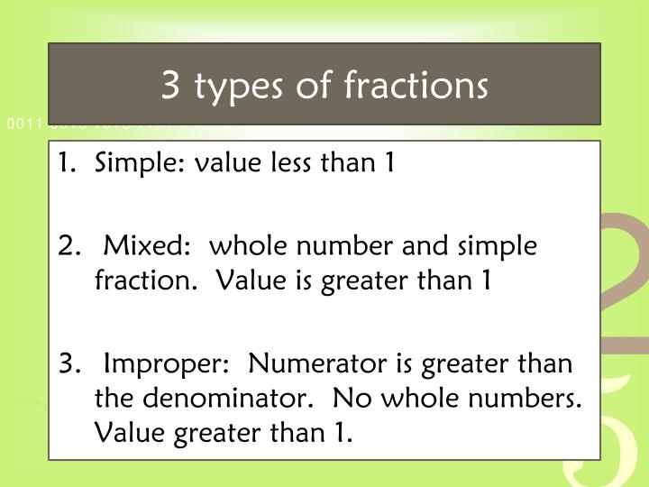 3 types of fractions