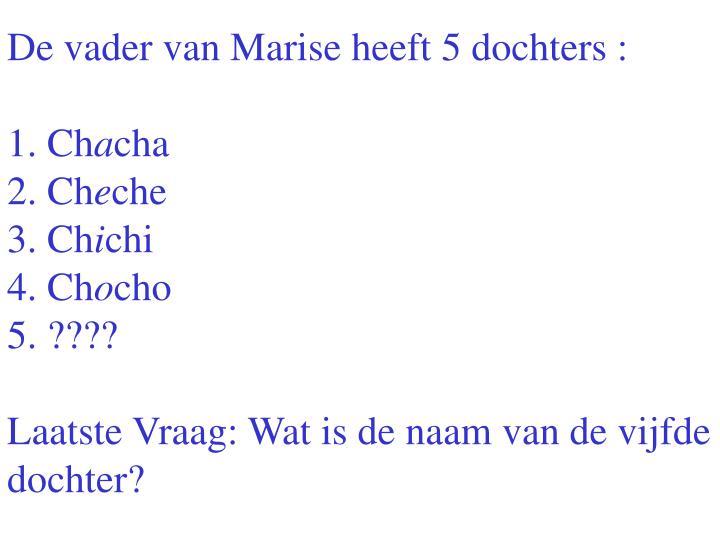 De vader van Marise heeft 5 dochters :