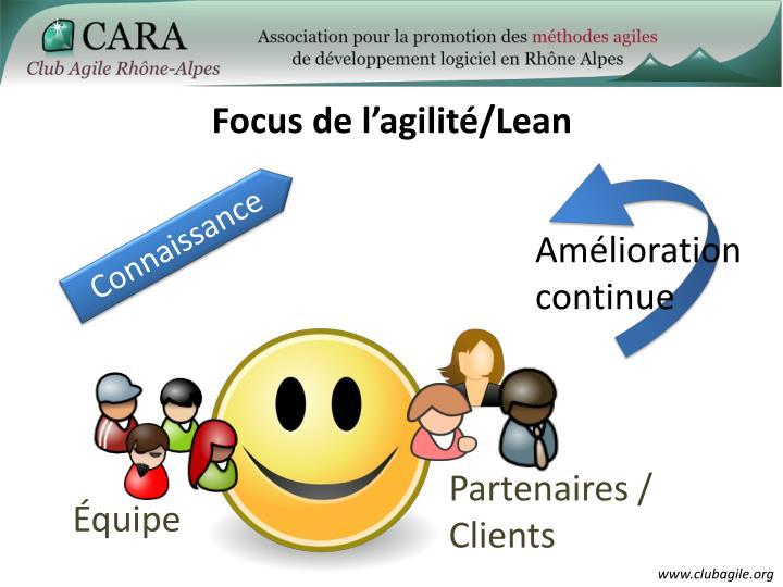 Focus de l'agilité/Lean