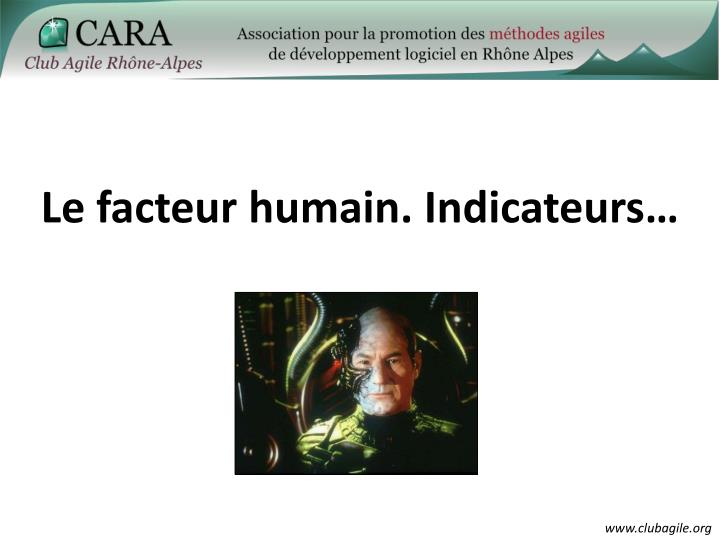 Le facteur humain. Indicateurs…