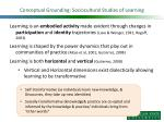 conceptual grounding sociocultural studies of learning