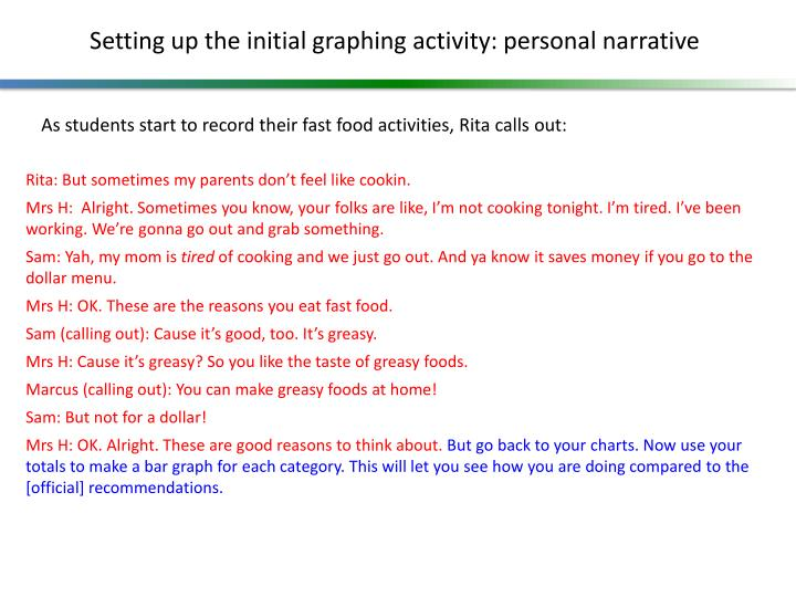 Setting up the initial graphing activity: personal narrative