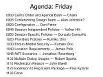 agenda friday