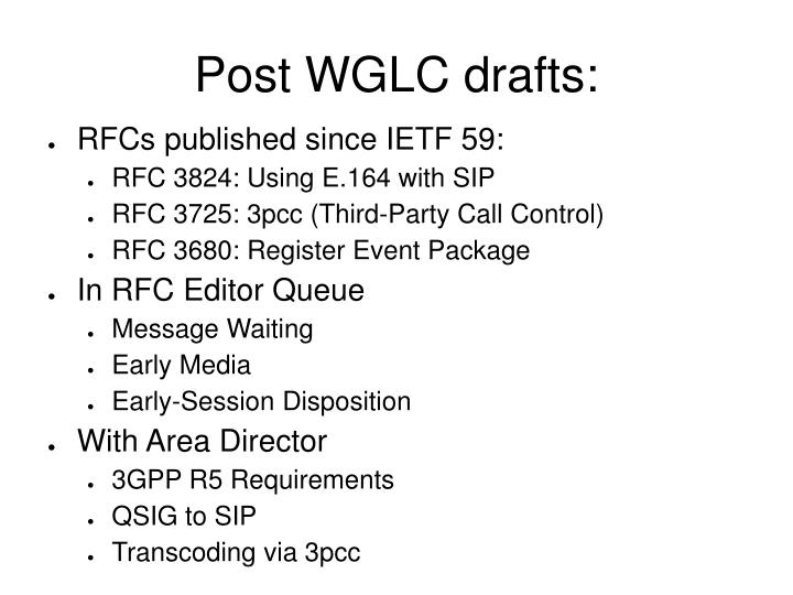 Post WGLC drafts: