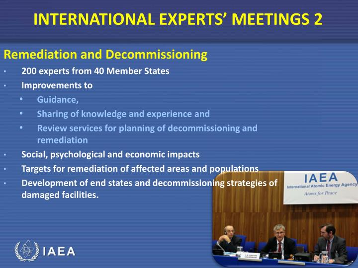 INTERNATIONAL EXPERTS' MEETINGS