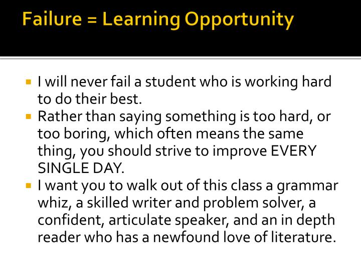 Failure learning opportunity